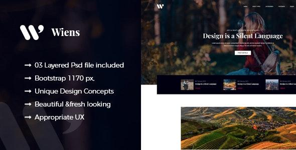 Wiens - Minimal Blog PSD Template - Creative Photoshop