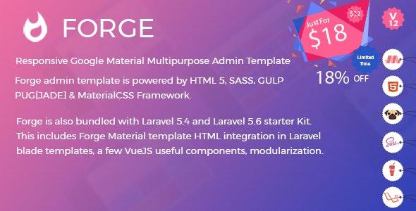 Forge Admin Template (HTML Version + Laravel 5 4 & 5 6