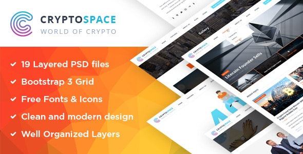 CryptoSpace - Bitcoin Crypto Currency PSD Template - Business Corporate