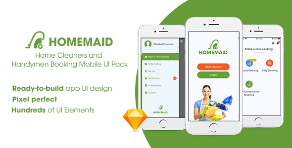 HomeMaid - Home Cleaners and Handymen Booking Mobile UI Pack - Sketch UI Templates