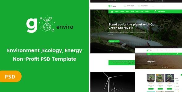 Goenviro - Environmental ,Energy, Non-Profit PSD Template - Nonprofit Photoshop