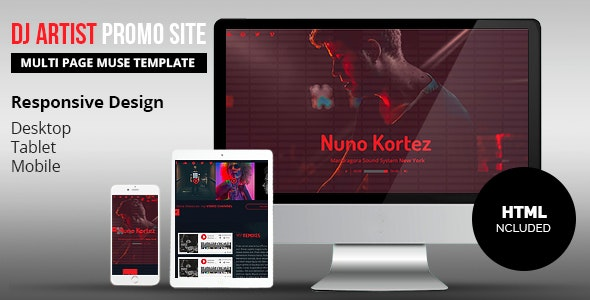 DJ Artist Promo Site Muse Template - Personal Muse Templates