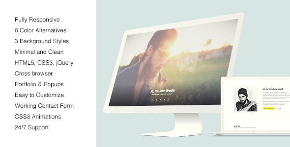 Noisee Personal One Page Template - Personal Site Templates