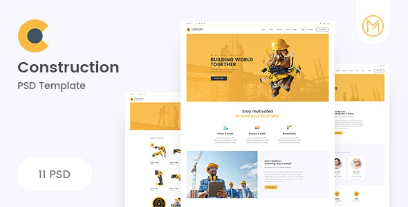 Construction - Clean Construction PSD Template - Business Corporate