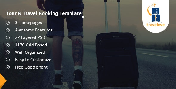 TraveLove - Tour and Travel Booking Agency PSD Template - Travel Retail