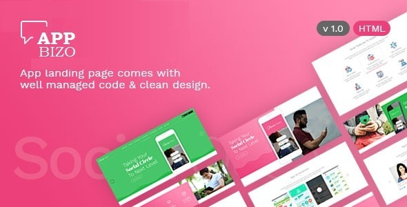 AppBizo - Landing Page for Mobile Apps - Technology Site Templates