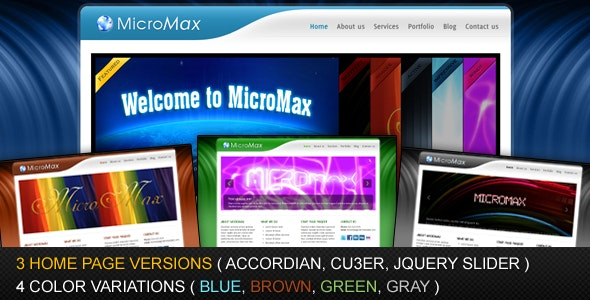 MicroMax - 4 Colors and 3 Homepage Variations - Creative Site Templates