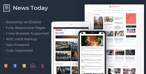 NewsToday - Responsive Modern Newspaper and Magazine HTML5 Template - Miscellaneous Site Templates