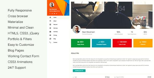 mateCard - Materialize CV Resume Template - Virtual Business Card Personal