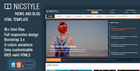 NicStyle - News & Blog HTML Template - Corporate Site Templates