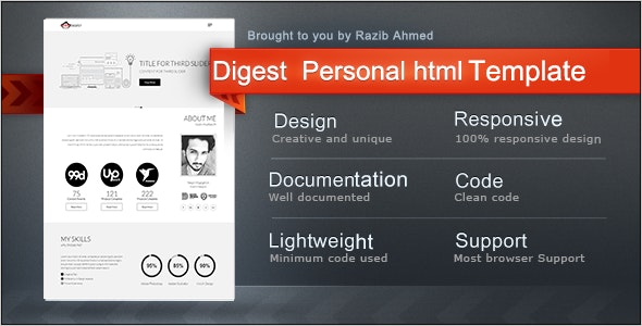 Digest-Personal Resume Template - Virtual Business Card Personal