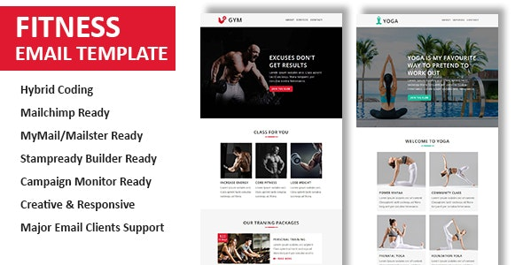 Fitness - Multipurpose Responsive Email Template with Stamp Ready Builder Access - Newsletters Email Templates