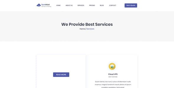 SureHost- Hosting Business PSD Template
