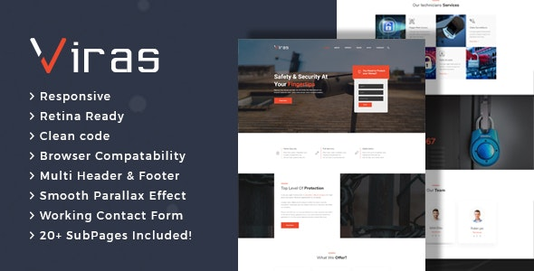 Viras - Security Services HTML Template - Business Corporate