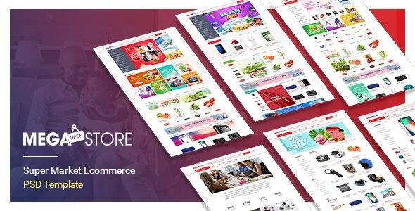 MegaStore – SuperMarket PSD Template - Retail Photoshop