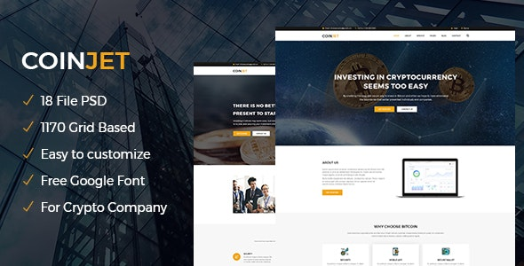 CoinJet | Bitcoin & Crypto Currency Psd Template - Technology Photoshop