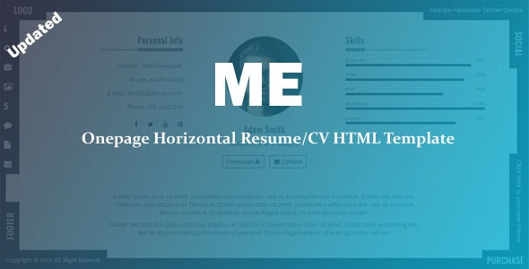 ME - Onepage Horizontal Resume/CV Template - Resume / CV Specialty Pages