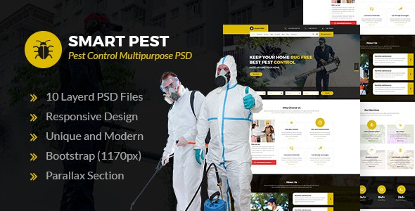 Smart Pest - Pest Control Multipurpose PSD Template - Business Corporate