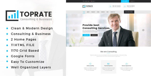 Toprate - Business Consulting and Professional Services HTML Template - Business Corporate