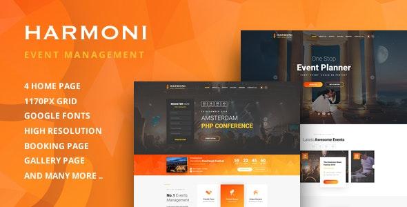 Harmoni - Event Management PSD Template - Corporate Photoshop