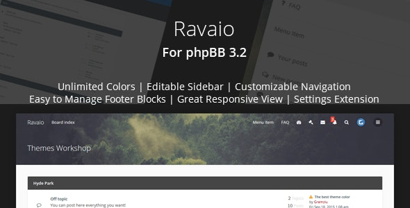 Ravaio - Modern Responsive phpBB Forum Theme by Gramziu