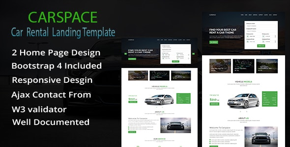 Carspace - Car Rental Landing Page HTML Template - Business Corporate