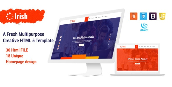 Irish - A Fresh Multipurpose Creative HTML5 Template - Creative Site Templates