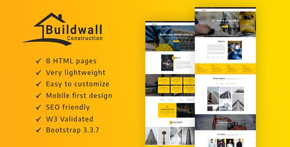 BUILDWALL – A Lightweight & Modern Construction Template - Business Corporate