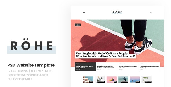 Rohe: PSD Template for Typographic Blog - Creative Photoshop
