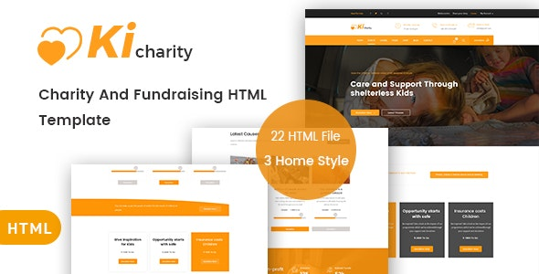 KiCharity - Charity & Fundraising HTML Template - Charity Nonprofit