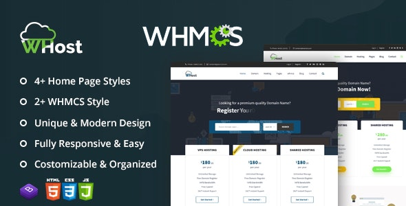 WHost-Domain Hosting Server Rental with WHMCS Responsive HTML5 Template - Hosting Technology