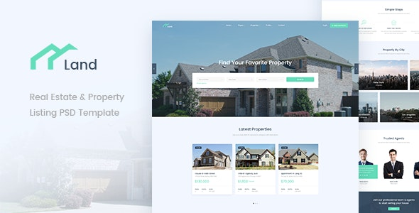 Land - Real Estate & Property Listing PSD Template - Business Corporate