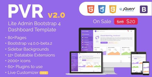 PVR - Lite Admin Bootstrap 4 Dashboard Template - Admin Templates Site Templates