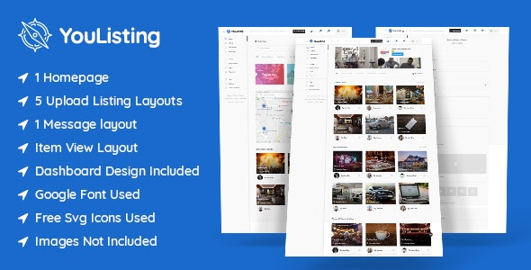 YouListing - Classified Listing and Directory Social Networking PSD Template - Corporate Photoshop