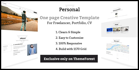 Personal - One page Freelancer, Portfolio, CV Creative Template - Creative Site Templates