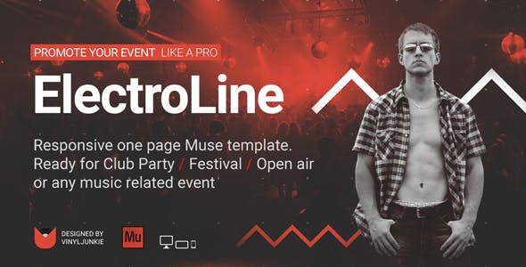 ElectroLine - One Page Event Promo Muse Template