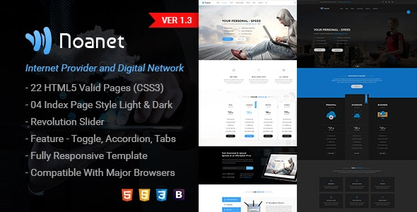 Noanet Digital Network And Internet Provider Html Template