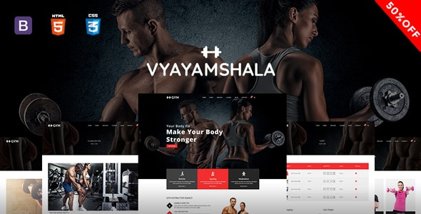 Vyayamshala - Gym & Fitness HTML5 Template - Health & Beauty Retail