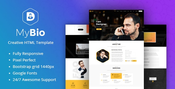 MyBio - One Page Personal Portfolio HTML Template with Blog pages - Portfolio Creative