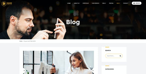MyBio - One Page Personal Portfolio HTML Template with Blog pages