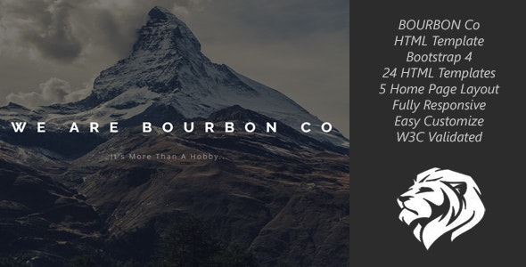 Bourbon One Page & MultiPage HTML Template - Creative Site Templates