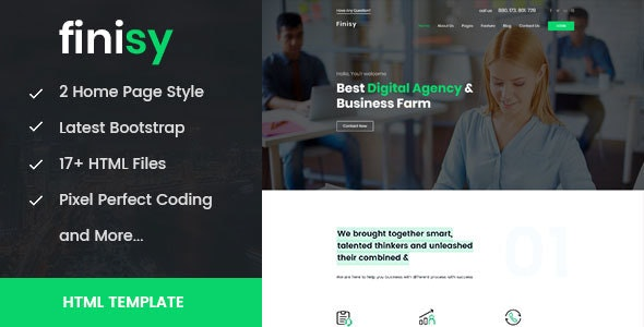 Finisy - Business & Digital Agency HTML Template - Business Corporate