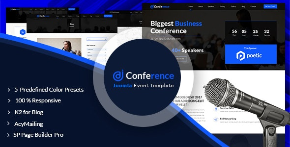 JD Conference – Advanced One Page Joomla 3.9 Event Template - Events Entertainment