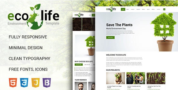 Eco Life Environmental HTML 5 Template - Environmental Nonprofit