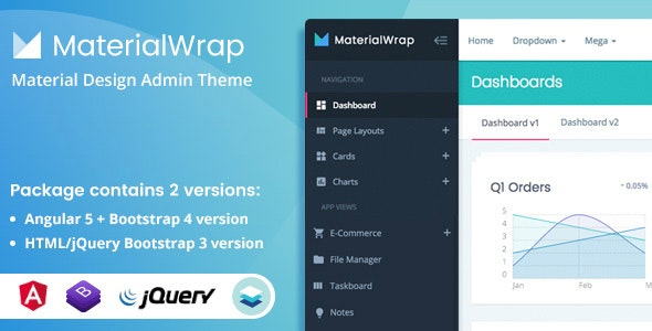 Material Wrap - Admin Dashboard Template - Admin Templates Site Templates