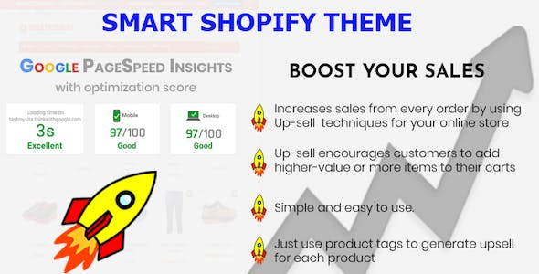 Smart - Multipurpose Shopify section - Upsell feature - Pagespeed Insights Optimization 97/100