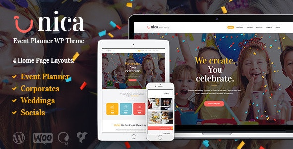 Unica - Event Planning Birthday & Wedding Agency WordPress Theme - Events Entertainment