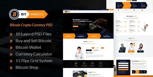 Bit Marco - Bitcoin and Cryptocurrency PSD Template - Marketing Corporate