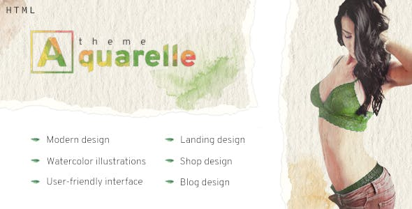 Aquarelle - healthy food market, kindergarten, portfolio, restaurant HTML template.