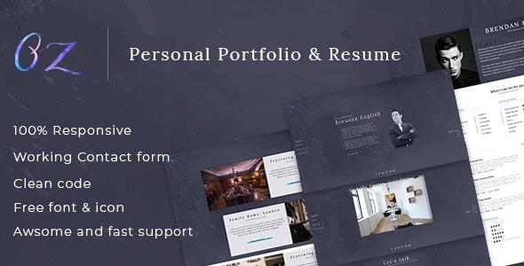 Oz - Multipurpose Portfolio HTML Template - Virtual Business Card Personal